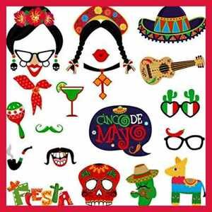 20Pcs Mexican Photo Booth Props Funny Fiesta Party Carnival Theme Supplies For B