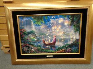 Thomas Kinkade Disney Tangled framed canvas 18 x 27  SN 32695