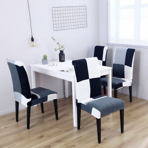 Black and White Elegant Polyester Spandex Stretch Dinning Chair Slipcover 4 Pack