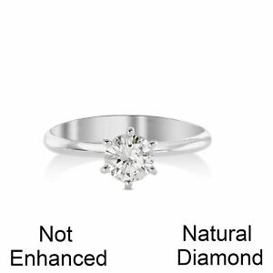 CARAT D SI1 NATURAL CLARITY DIAMOND SOLITAIRE ENGAGEMENT RING 14K WHITE GOLD