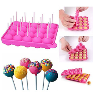 20-Cavity Silicone Mold with 20 pcs Sticks for Cake Pop,Hard Candy NEW