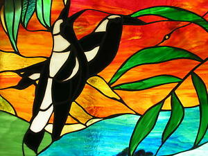 AUSTRALIAN MAGPIES stained glass LEADLIGHT WINDOW ENTRANCEWAY original designs