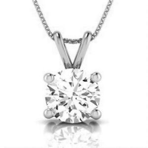 DIAMOND GOLD PENDANT NATURAL ROUND CUT SOLITAIRE NECKLACE 14K WHITE GOLD 12 CT