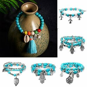 Vintage Silver Shell Tassel Beaded Bracelet Turquoise Bangle Women Jewelry Hot