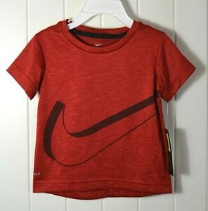 NWT BOYS KIDS YOUTH NIKE DRY FIT RED SWOOSH SHORT SLEEVE CREW T-SHIRT SZ 2T 6 7