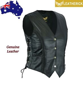 Ladies Braided Motorcycle Leather Vest Waistcoat Black with Side Laces AUS Stock AU $74.99