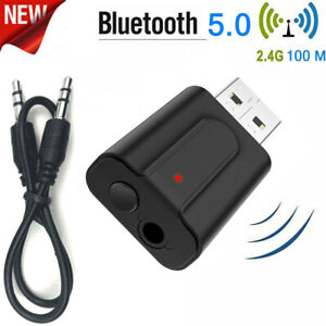 Bluetooth 5.0 USB Adapter Dongle Stereo Audio Music Receiver 3.5mm for TV PC US