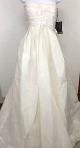 VERA WANG WHITE VW35107 Ivory Veiled Taffeta Strapless Wedding Dress Sz 10 NWT