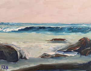 CENTRAL CALIFORNIA TWO Original Expression Seascape Painting 11x14 040819 KEN $47.95