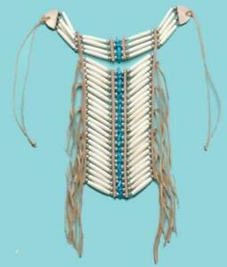 Native American Bone Turquoise Leather Breast Chest Plate Protection Necklace $29.95