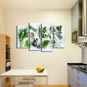 Green Fresh Healthy Vegetable 4 Pc Canvas Print Picture Wall Poster Home Decor