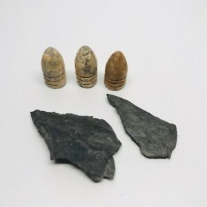 Antique Lot Of 3 Bullets and 2 Flints