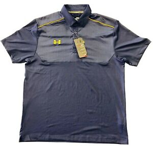 NWT Under Mens Armour Ultimate Polo Navy Gold Piping Logo 1247506 416 SZ M $60.79