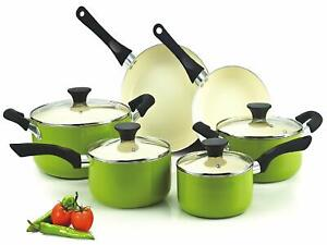 10-Piece Cookware Cooking Set Nonstick Aluminum Ceramic Coating Round Red Green