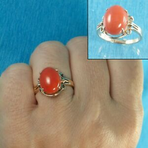 A Simple Yet Elegant Oval Natural Red Coral 14K Solid Yellow Gold Ornate Ring