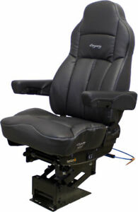 SEATS INC LEGACY SILVER IN BLACK ULTRALEATHER TRUCK SEAT FOR VOLVO MACK ETC...