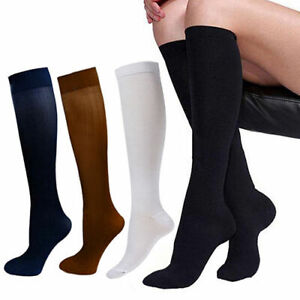 (4 Pairs) Knee High 15-20mmHg Compression Graduated Support Socks Men's Women's