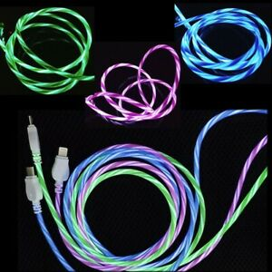 LED Light up flowing Flash USB Type-C Charger Cable For Android iPhone