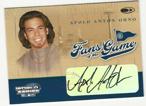Apolo Anton Ohno 2004 Donruss World Series Fans of the Game Autograph Card Auto