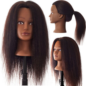 Cosmetology Real Hair Mannequin Beauty Training Head 22 24 Natural Black Yaki $29.99
