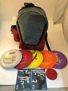 NEW FRISBEE DISC GOLF INNOVA BUILD YOUR OWN 5 PACK SET w RED BACKPACK BAG MINI
