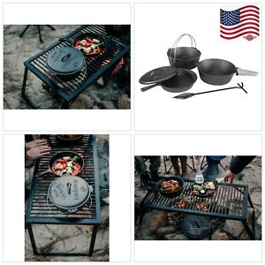 Cast Iron Cook Set - Pre Seasoned 6piece Cooking Fry Pan Dutch Oven Outdoor