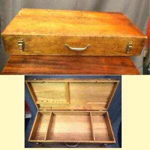 Stanley Antique Oak Wood Case Tool Box Large Vintage Dovetail Chest Made In USA $174.99