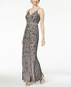 Adrianna Papell Beaded Chiffon Column Gown MSRP $299 Size 2 # 12A 342 Blm $35.74