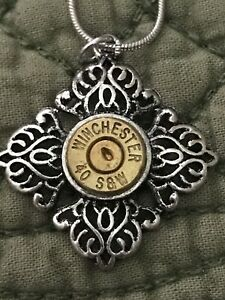 Silver And Bronze 40 Caliber Winchester Bullet Flower Necklace