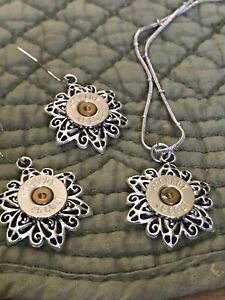 Silver 45 Caliber Colt Bullet Star Flower Earring And Necklace Set