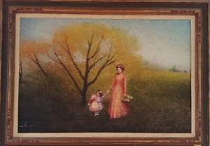 ANTIQUE AMERICAN SCHOOL IMPRESSIONIST OIL ON CANVAS THE WOMAN WITH CHILD FRAMED