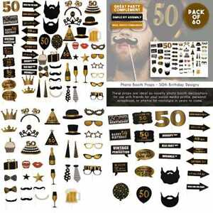 50Th Birthday Photo Booth Props 60 Pack Party Supplies Selfie Favors For Cocktai