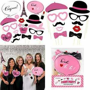 18PCS Paris Photo Booth Props French Ooh La Party Supplies Themed For Birthday W