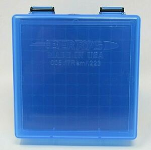 BERRY'S PLASTIC AMMO BOXES BLUE 100 ROUND 223  5.56 - FREE SHIPPING