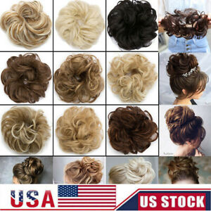 Fast Real Natural Curly Messy Bun Hair Piece Scrunchie Hair Extensions For Women