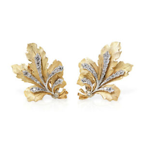 BUCCELLATI 18K YELLOW GOLD DIAMOND LEAF DESIGN CLIP-ON EARRINGS COM958