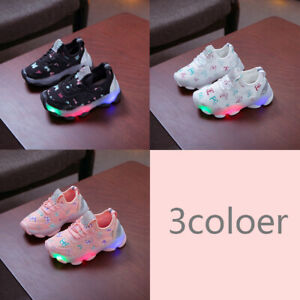 Toddler Baby Boys Girls Light Up LED Trainers Sneakers Running Shoes Flashing US