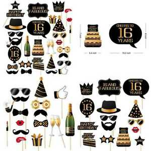 16Th Birthday Photo Booth Props Photobooth For Men & Women 32 PC PARTY GOLD