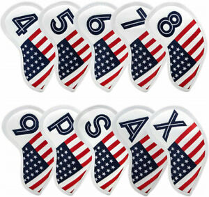 Golf Iron Covers Club Headcovers American Flag Embroidery for Taylormade Mizuno $26.99