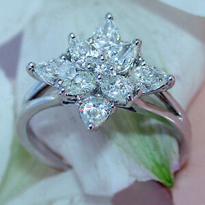 Real 10k White Gold 3.00 Ct Diamond Pear Shape Flower Engagement Ring Women's