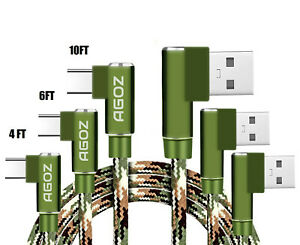 3Pack 4ft6ft10ft Camo L Shape 90° Right Angle USB C Cable Fast Charger Cord $10.98