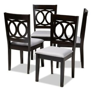 Baxton Studio Lenoir Fabric and Wood Dining Chairs in Gray and Brown Set of 4