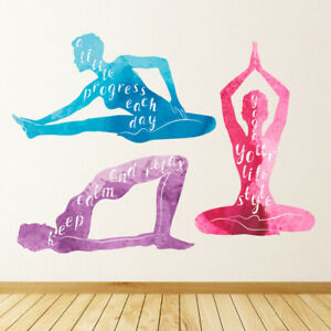 Yoga Poses Meditation Exercise Wall Decal Sticker Set WS 45644