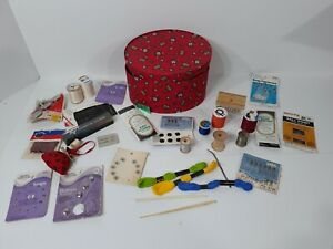 Large Lot of Vintage Sewing Thread Spools amp; Misc Sewing Items With Container $25.88