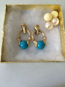 Vintage Sarah Coventry Turquoise Interchangeable Door Knocker Gold Tone Earrings $24.99