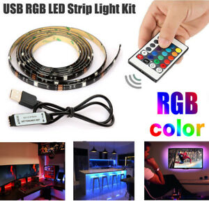 5V USB LED Strip Lights TV Back Light 5050 RGB Colour Changing with 24Key Remote