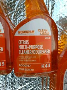 Ecolab Monogram Clean Force 507878 K43 Citrus Cleaner Degreaser Lot of 6 x 32oz