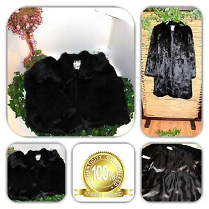ELEGANT KAMAL BLACK QUALITY NATURAL FUR COAT! (SIZE L)