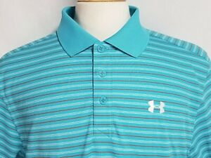Under Armour Mens L Blue Red Striped Polyester Short Sleeve Golf Polo Shirt $27.99