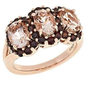 Colleen Lopez Rose Gold Plated Morganite and Brown Zircon Ring